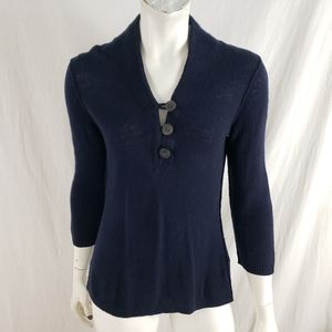 Banana Republic Sweater 3 Button Expose Seam Navy
